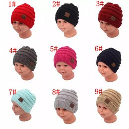 Wholesale Knit Beanies For Babies - kids winter keep warm cc beanie Labeling hats Wool knit skull designer hat outdoor sports caps for baby children kid 2017 fashion
