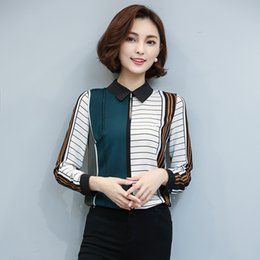 Wholesale Long Sleeve Polyester Polo Shirts - Long Sleeve Chiffon Blouse Women 2017 New Slim Print Striped Polo Collar Female Shirt Spring Fashion Women's Clothing