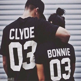 Смешные пары футболок онлайн-Wholesale- NEW fashion black white women Summer style BONNIE CLYDE 03 Funny letters couple t shirt cotton short sleeve camisetas mujer