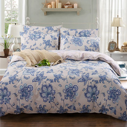 Wholesale Fitted King Sheet Blue - Wholesale- 100% cotton High Quality Bedding Set Home Textiles Soft Duvet Cover bed sheet Fitted Pillowcases 3 4 Pcs Textile Bedding Kit