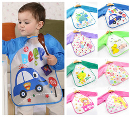 Wholesale Sleeved Bibs - Children paint waterproof clothing kids toddler long sleeved apron baby bibs drawing pictures aprons 12 styles
