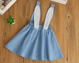 Wholesale Baby Denim Overalls - ins girls summer denim bunny dresses girls cute Cartoon rabbit ear overalls high quality baby denim dress Easter girls dressfree shipping