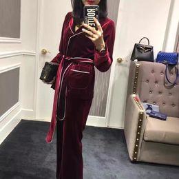 Wholesale Bathrobe Red Woman - New autumn designer fashion women bathrobe style stunning velvet women blazer tops + pants suit black red two piece set