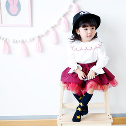 Wholesale Wholesale Mesh Skirts - 2017 New kids girl elegant ruffles collar long sleeve t shirt + mesh patchwork skirt girl fall Lolita clothing sets free shipping 2 colors