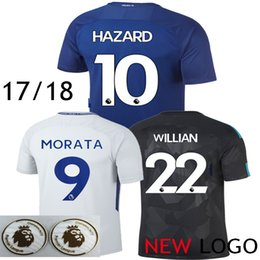 Wholesale Chelsea Orange - #9 Alvaro Morata Soccer Jersey 17 18 Eden Hazard Chelsea 2017 2018 Willian Diego Costa Oscar Pedro Bakayoho Third Black Football Shirts