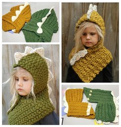 crochet dinosaur cap Coupons - Baby Ins Dinosaur Beanie Dinosaur Knitted Hat With Scarf Cartoon Dinosaur Skullies Caps Ins Shawl Kids Winter Hats Fashion Caps Beanies D304