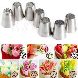 Wholesale Cake Icing Decor - Wholesale- 7pcs Set Russian Tulip Icing Piping Nozzles Cake Decoration Decor Baking Tool