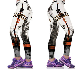 Wholesale Golden Pants - New Women Fitness Baseball Leggings San Francisco Giants Team Golden State 3D Print Leggins Lady Girls Slim Running Training Yoga Sexy Pants
