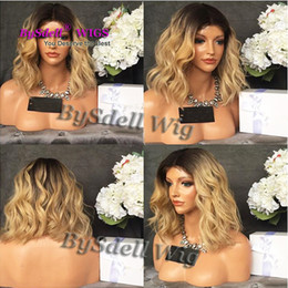 Wholesale Short Blonde Party Wig - Hot Sale Cheap Heat Resistant Hair Wig Black Root Ombre Ash Smoke Pink Blonde Color Cheap Wigs Mermaid Unicorn Party Woman Short Wob Wigs