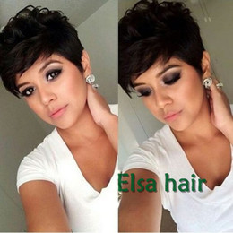 Wholesale Remy Human Hair Wigs - Natural Black Rihanna Chic Pixie Cut Short human hair Wigs Hairstyle Cheap Brazilian Virgin Remy cut Hair Wigs for Black Women