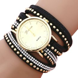 Wholesale Glass Crystal Beads Bracelets - Lady Bracelet Watch 3 Roped Casual Bohemia Leather PU Band Woman Geneva Crystal Beads Quartz Wristwatch Feminino