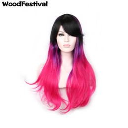 Wholesale Purple Ombre Synthetic Wig - WoodFestival good quality synthetic fiber hair wigs ombre black purple pink mixed color cosplay wig 75cm long wavy wig with bangs women