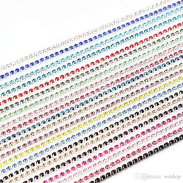 Wholesale Patriotic Shoes - Wholesale 2mm-3mm 10 Yards Lot Silver Base Claw Rhinestone Chain Multicolor Sew On Garment Jewelry Bag Shoes Accessories Crystal Chains