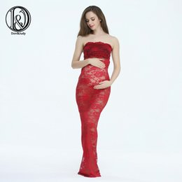 Wholesale Straight Maxi Dress - (150cm) Maternity Lace Maxi Long Dress Close-Fitting Sheath Style Free Size For Photography Props