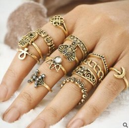 Wholesale Vintage Elephant Ring - Knuckle Ring Set 13pcs set Elephant Crystal Midi Finger Knuckle Rings Retro Vintage Bohemian Stacking Silver Ring Set Women Punk Jewelry