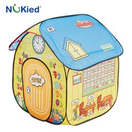 Wholesale Educational Letters - NUKied Kids Learning Playhouse Portable Floding Early Educational Tent Pop Up Outdoor Garden Cubby Baby Learn Letter Word Animal