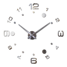 Wholesale New Design Wall Clock - Wholesale- 2016 New Vintage Wall Clock Modern Design Large Diy Acrylic Clocks Horloge Murale Quartz Watch 3d Stickers Brief Living Room