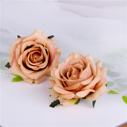 Wholesale rose hair garland - 20pcs New Diy Curling Simulation Rose Silk Flower Heads Hair Clips Flower Head Garlands Flower Scorsage Wedding Decoration