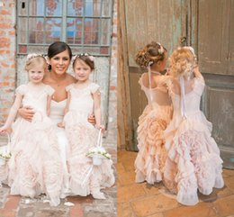 Wholesale Girl Flower Shorts Rosette - Blush Pink Princess Flower Girls Dresses Bohemian Beach Birthday Wedding Party Dresses Ruffles Tulle Rosette Girls Pageant Dresses