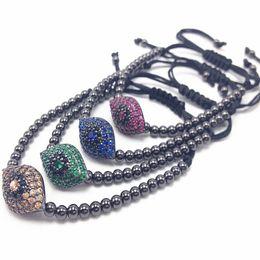 Wholesale Macrame Style Bracelets - New Arrivel Style Pave CZ Evil Eye Connector 4MM Round Beads Bracelets Bangles Braided Macrame Men Bracelets Jewelry