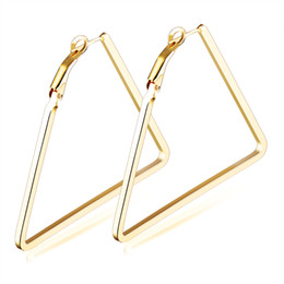 Wholesale Triangle Clip Earrings - New Arrival Fashion 18K Yellow Gold Plated Triangle Earrings with Clip-Back 40mm-60mm Width Perfect Gift
