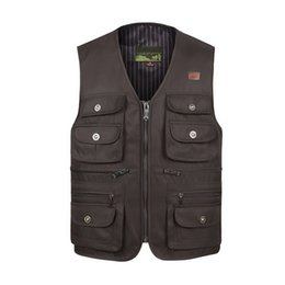 Wholesale Male Casual Vests - Wholesale- Photography Male Vest Casual Loose Plus Size Black Men Vest With Many Pockets