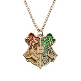 Wholesale Badge Chain Necklace - Hot Movie Harry Necklace Potter Magic College Badge Pendant Necklaces For Women Men Vintage Jewelry Wholeslae