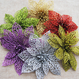 """Wholesale Wall Decorations Trees - 5.9"""" Shiny Christmas Flowers Poinsettia Christmas Tree Decoration Ornaments Artificial Christmas Flowers Festive Party Supplies"""