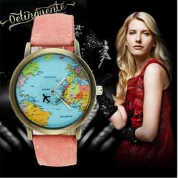 c8c9942e78a Mapa Do Mundo do vintage Relógios de Avião Das Mulheres Dos Homens Unisex  Denim Strap Quartz Relógio de Pulso Casual Vestido Relógios Christms Relógio  de ...