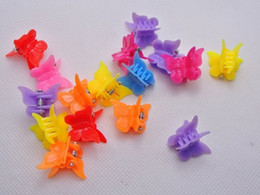 Wholesale Butterfly Clips For Hair - 50pcs mixed Color butterfly clips for kids Plastic Butterfly Mini Hair Claw Clips Clamp for Kids gift multicolor 1.8cm*1.5cm