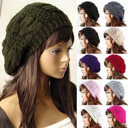 Wholesale Ladies Green Beret Hat - Fashion Women's Lady Beret Braided Baggy Beanie Crochet Warm Winter Hat Ski Cap Wool Knitted