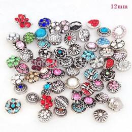 Wholesale Jewellery Charms Wholesale - Wholesale- Wholesale 50pcs Lot Mixed 12mm Metal Snap Buttons For Snap Button Bracelets Necklace Pendant Jewellery Charm Rhinestone Button