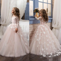 Wholesale Christmas Butterfly Images - 2017 Fall Blush Ball Gown Flower Girls Dresses Lace Long Sleeves with Butterfly Kids Pageant Gowns Little Girl Birthday Party Dresses