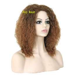 Wholesale Cheapest Afro Curly Wigs - Free Shipping synthetic wigs for black Women Natural Cheap Long Curly hair wig Brown Kinky Afro synthetic Wigs of Natural Hair