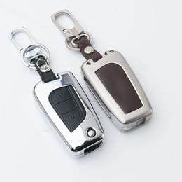 Wholesale Toyota Corolla Key Cover - High-grade Zinc alloy + Leather Car Key Case For Toyota Smart Folding Key Crolla Cmry Hilander Cown .etc Chain Car Covers