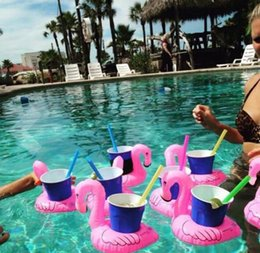 Wholesale Pvc Cup Holder - Inflatable Flamingos Donut Cup Holder 7 styles PVC Pineapple Inflatable Drink Cup Holder Bottle Holder Floating Lovely Pool Toys D769