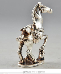Wholesale Collectible Horse Statues - decoration crafts Tibet Silver Chinese Old Collectable Handwork Carving Horse Statue Decor