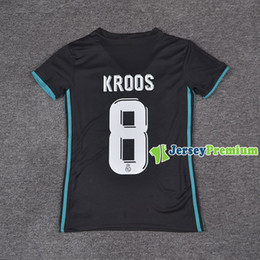 Wholesale Womens Ripped Shirts - Womens Real Madrid Away Football Soccer Jerseys Black Shirt Ronaldo Kroos Benzema Ramos Bale