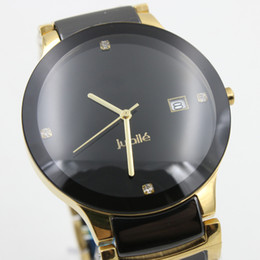 Wholesale Two Fold - Luxury Brand golden square Quartz Watch Men Diastar Black Diamonds Dial Two Tone TICHY high quality Stainless Digital mens Watches