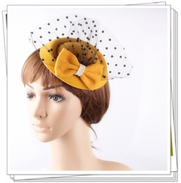 Wholesale Top Hat Cocktail - Free shipping 6 colors top party headpiece with veils for wedding fascinators bridal veils hair accessories cocktail hat 12pcs lot OF1551