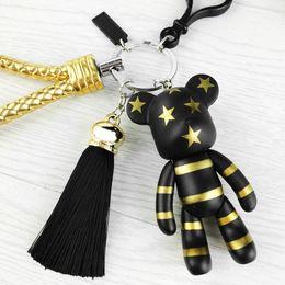 Wholesale Leather Keyrings For Car Keys - Fashion New Brand Leather Tassel Gloomy Bear Keychain Keyring For Women Bag Car Key Chain Trinket Jewelry Gift Souvenirs Llavero