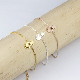 Wholesale Offer Gift - Wholesale 10Pcs lot 2017 Special Offer Fashion Gold Bracelets For Men Summer Snap Jewelry Cute Tiny Pineapple Women Silver Charm Bracelets