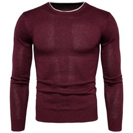 Wholesale Solid Colored Shirts - Casual Slim Fit Sweater Men Classic Pure red Pullover Men Solid Color O-Neck Pull Homme Cashmere Sweaters Shirts