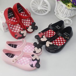 Wholesale Minnie Shoes Girl - Melissa style Mickey Minnie kids toddler 15-18.5cm inside size baby little girls crystal jelly shoes children beach Sandals DHL shipping