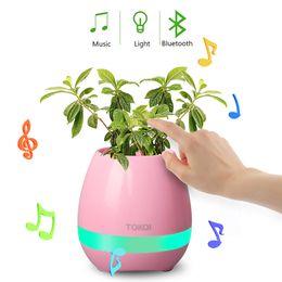Wholesale Cute Usb Speakers - LED wireless bluetooth speakers smart music flower pot funny cute design Colorful loudspeaker
