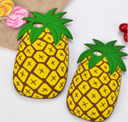 Wholesale Phone Case Rubber Cartoon - 3D cartoon pineapple Silicon case soft rubber Phone Back Cover For iphone 7 6 plus s8 S6 s7 EDGE NOTE8