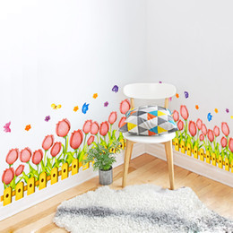 Wholesale Tulip Flower Sticker For Wall - Pink Color Tulip Flowers Baseboard Wall Sticker PVC Material Creative Wall Art DIY Home Decor for Living Room Decoration