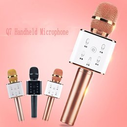 Wholesale Dhl Free Shipping Smartphone - Q7 Handheld Microphone Wireless KTV With Speaker Mic Microfono Handheld For iphone Smartphone Portable Karaoke Player DHL free shipping