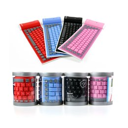 Wholesale Flexible Bluetooth Keyboard For Tablets - Waterproof Foldable Silicone Bluetooth Keyboard Soft Silent Flexible Folding Mini Bluetooth 3.0 Keyboard for PC Tablet