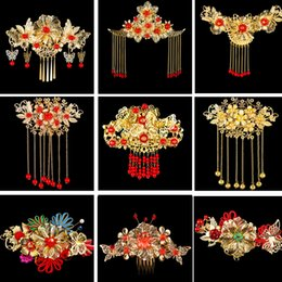 Wholesale Chinese Bridal Headdress - Chinese Wedding Bridal Headdress Handmade Bride Crown Gold Plated Headpiece XiuHe Suit Hair Combs Accessories